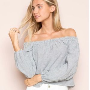 Brandy Melville Theia Striped Off the Shoulder Top